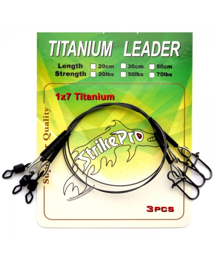Strike Pro Titanium 1x7 Leaders 50LB 20 cm - 3 pcs.